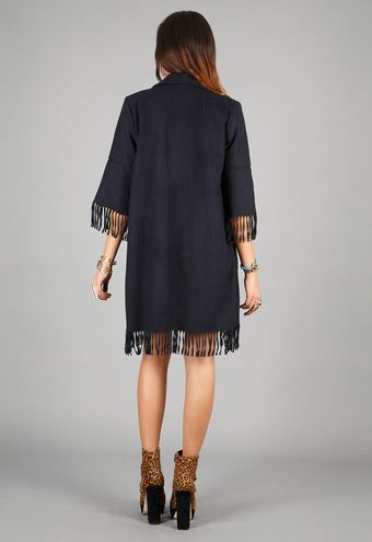 American Gold American Gold Holy Mountain Fringe Coat in Navy - Lyst