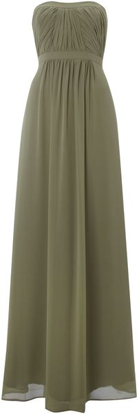 Ariella Strapless Pleat Maxi Dress - Lyst