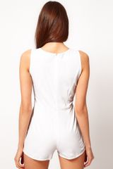 Asos Collection Asos Petite Exclusive Playsuit with Cut Out Waist in White - Lyst