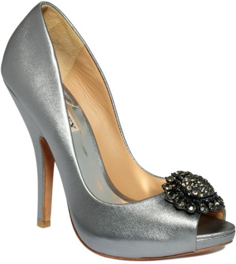 Badgley Mischka Lissa Evening Pumps in Silver (pewter) - Lyst
