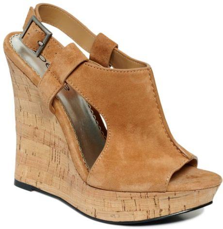 Bebe Kitt Cork Platform Wedge Sandals In Brown Tan Lyst