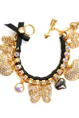 Betsey Johnson Pave Crystal Heart and Bow Bracelet - Lyst