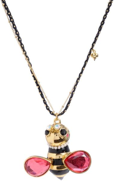 Betsey Johnson Large Bumblebee Pendant in White (pearl) - Lyst