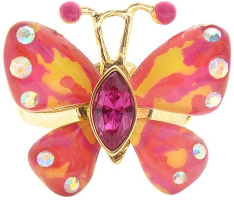 Betsey Johnson Butterfly Stretch Ring in Pink - Lyst