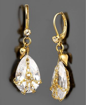 Betsey Johnson Teardrop Crystal Earrings - Lyst