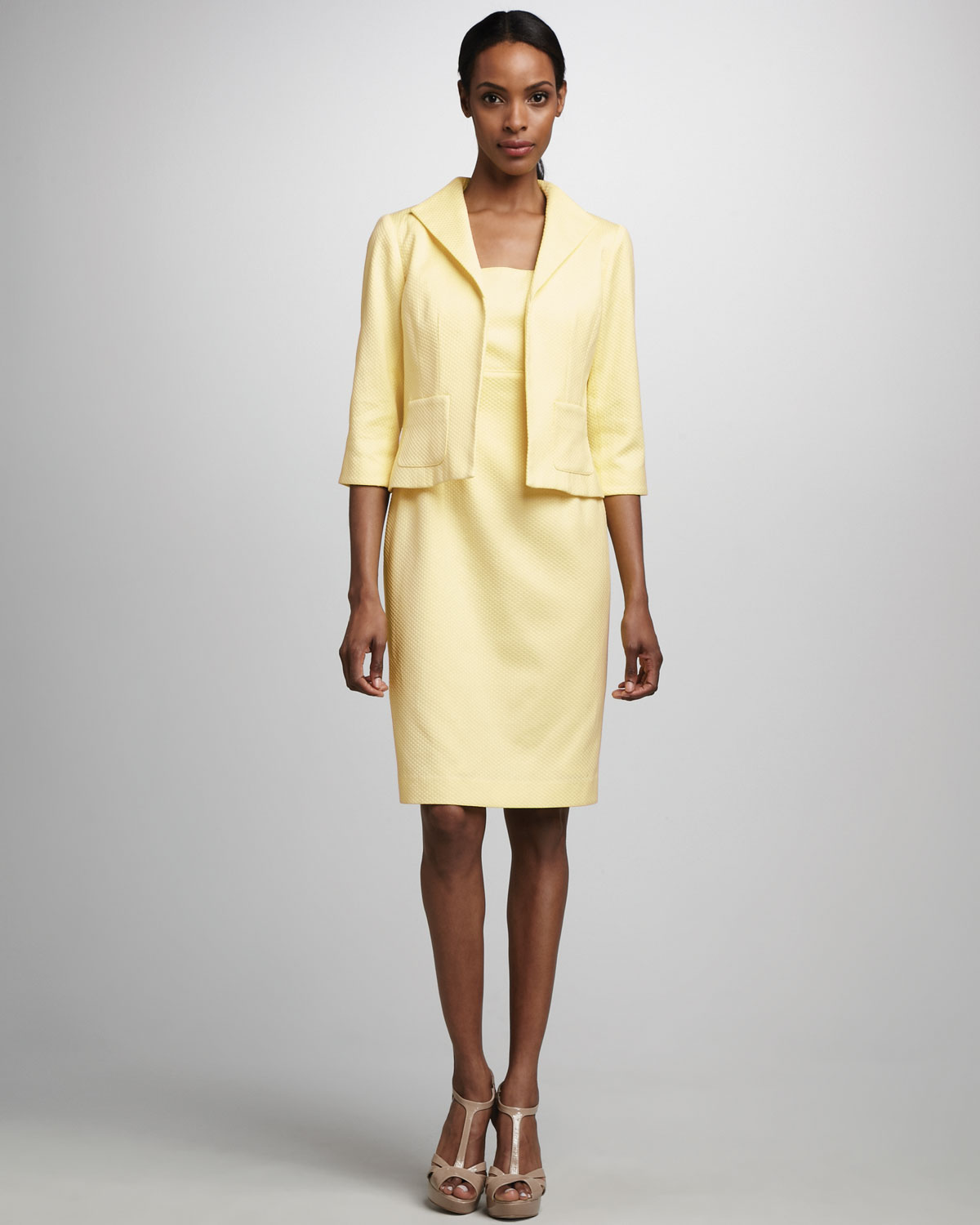 Bigio collection Pique Dress Jacket Set in Yellow | Lyst