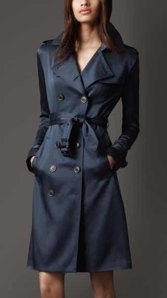 Burberry Midlength Silk Trench Coat in Blue (navy) - Lyst