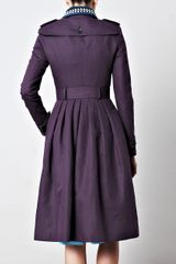 Burberry Prorsum Full Skirted Trench Coat in Purple - Lyst