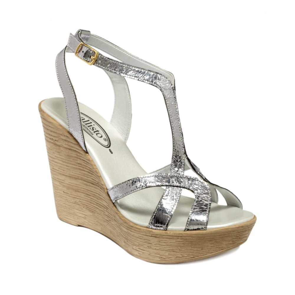 Callisto Monaco Wedge Sandals In Silver (silver Crackle