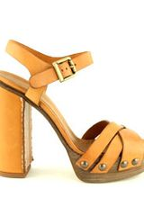 Chloé Criss Cross Platform Sandal in Brown - Lyst