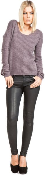 Current/elliott Leather Pant in Grey Ink in Black - Lyst