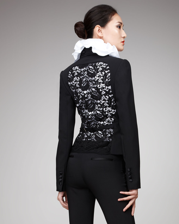 dolce gabbana lace back tuxedo jacket in black lyst. Black Bedroom Furniture Sets. Home Design Ideas