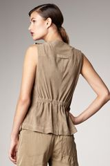Donna Karan New York Perforated Suede Vest - Lyst