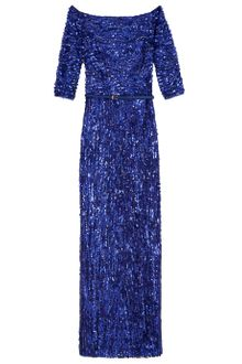 Elie Saab Full Beaded Long Shoulder Dress  - Lyst