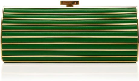 Elie Saab Large Striped Clutch in Green - Lyst