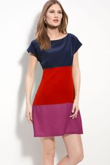 Eliza J Colorblock Silk Crêpe De Chine Dress - Lyst