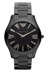 Emporio Armani Black Ion Plated Stainless Steel Bracelet Watch  - Lyst