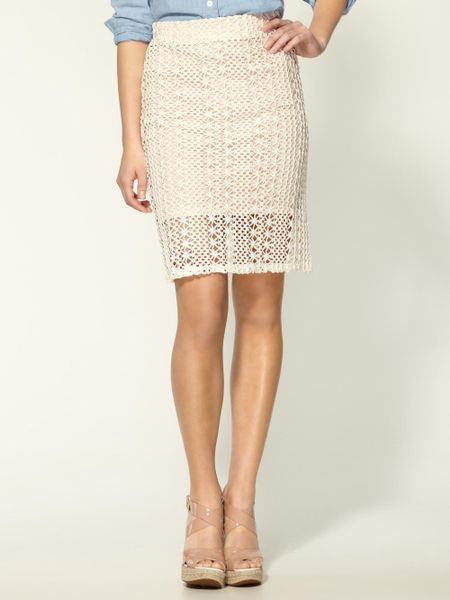 free pin up pencil skirt in white ivory combo lyst