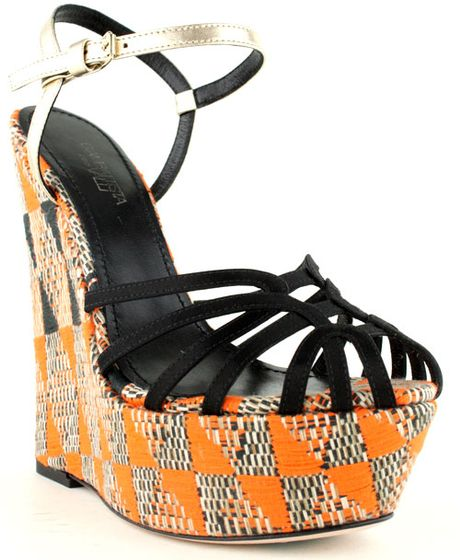 Giambattista Valli Tribal Print Wedge in Gold - Lyst