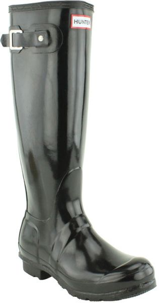 Hunter Original Tall Gloss Rain Boot in Black - Lyst