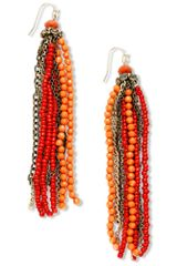 Hue Coral Seed Bead Tassel Earrings in Pink (coral) - Lyst