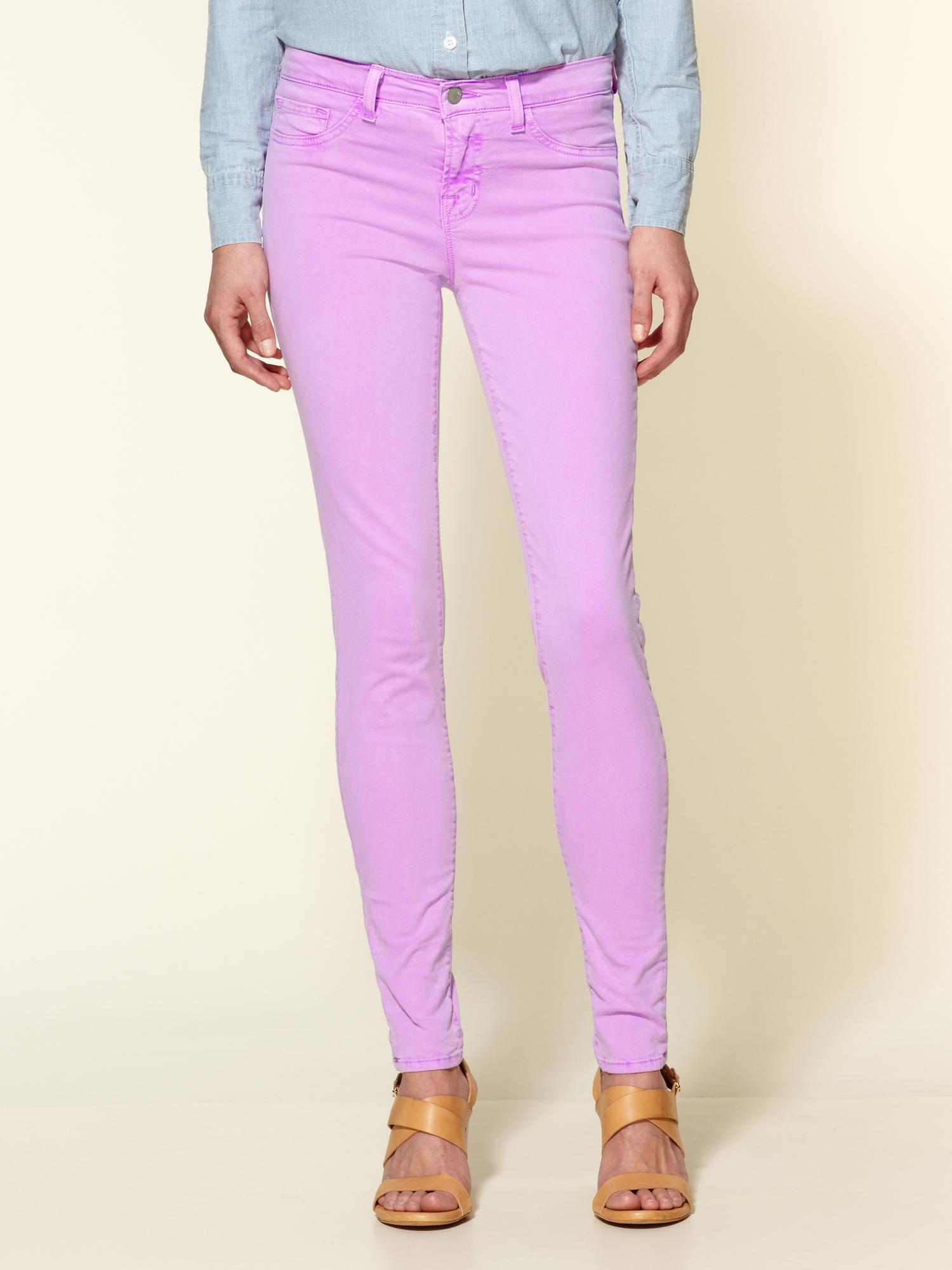 j brand 811 mid rise skinny jeans in purple neon purple. Black Bedroom Furniture Sets. Home Design Ideas