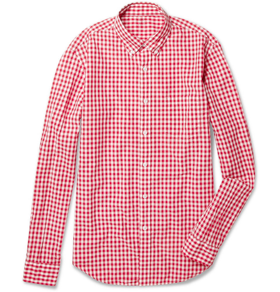 Lightweight gingham check cotton shirt in red for for Red and white gingham shirt women s