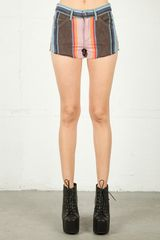 Joe's Jeans Joes Jeans Baja Stripe High Rise Cut Off Short in Multi in Blue (multi) - Lyst