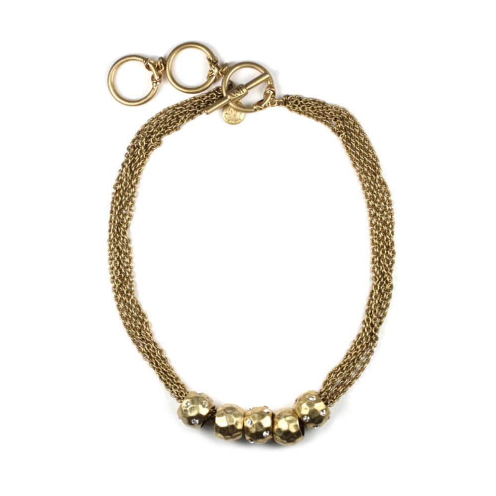jones new york gold tone beaded slider necklace in gold lyst. Black Bedroom Furniture Sets. Home Design Ideas