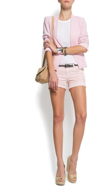 Mango Ripped Shorts - Lyst