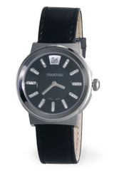 Swarovski Womens Swiss Piazza Black Leather Strap - Lyst