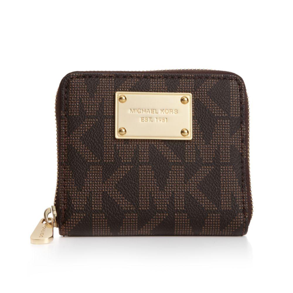 8cad39448e73 Michael Kors MK Logo Small Zip around Wallet in Brown - Lyst