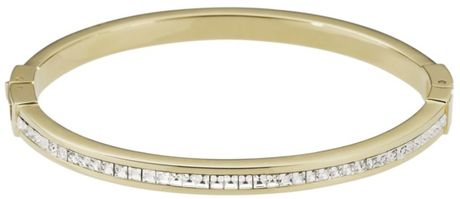 Michael Kors Gold Tone Thin Pave Glass Bangle in Gold - Lyst