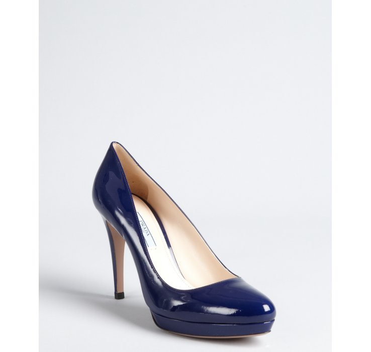 Prada Royal Blue Patent Leather Platform Pumps in Blue | Lyst