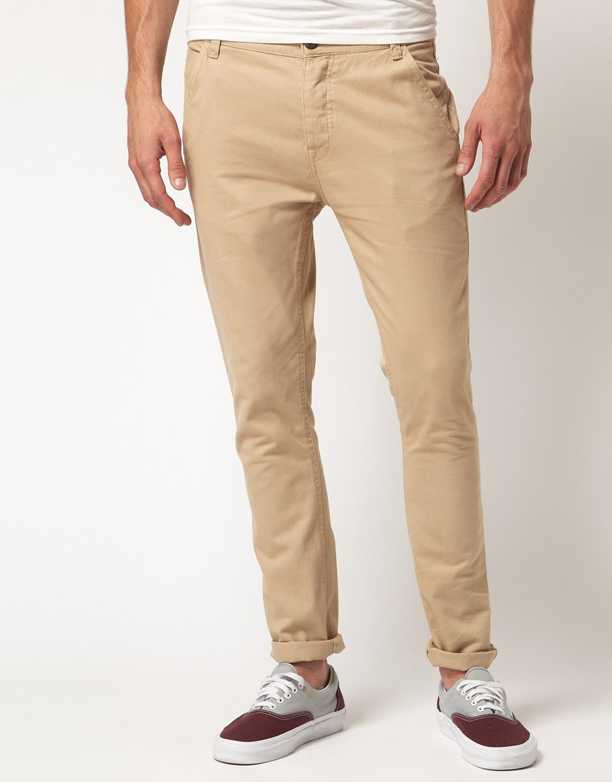 River Island Kevin Skinny Chinos In Beige For Men Stone