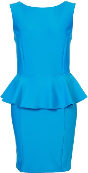 Topshop Peplum Scuba Pencil Dress in Blue