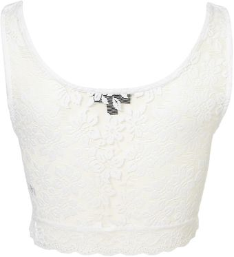 Topshop Lace Crop Top - Lyst