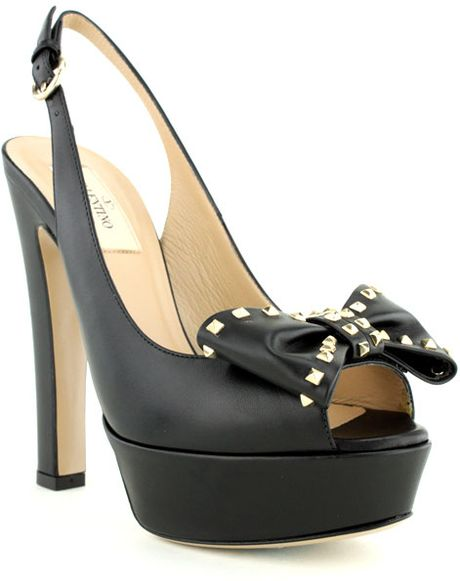 Valentino Black Slingback Open Toe Studded Pump in Black - Lyst