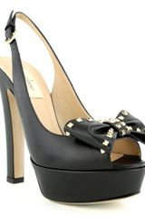 Valentino Black Slingback Open Toe Studded Pump - Lyst