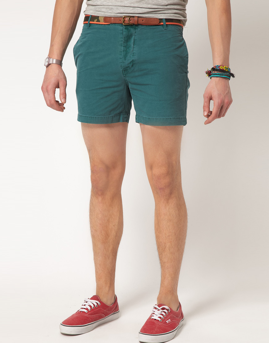 Asos Asos Short Chino Shorts in Green for Men | Lyst