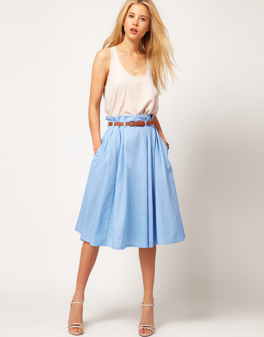 Asos collection Asos Linen Midi Skirt with Belt in Blue | Lyst