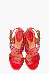 Chloé Red Laser Cut Wedges in Red - Lyst