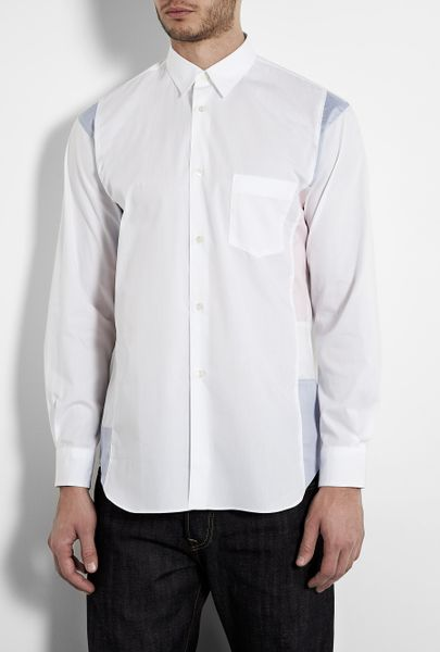 Comme Des Garçons White Mixed Colour Edge Panel Shirt in White for Men - Lyst