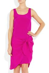 Dkny Tie Waist Stretch Silk Dress in Pink - Lyst
