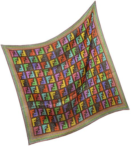 Fendi Sequins Print Zucca Logo Square Scarf in Multicolor - Lyst