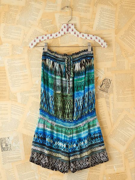 Free People Vintage Printed Strapless Romper in Blue (multi) - Lyst