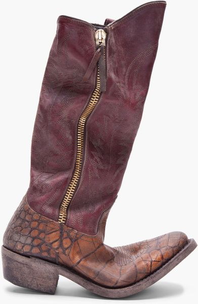 Golden Goose Deluxe Brand Maroon Calf High Zip Boots in Purple (maroon) - Lyst