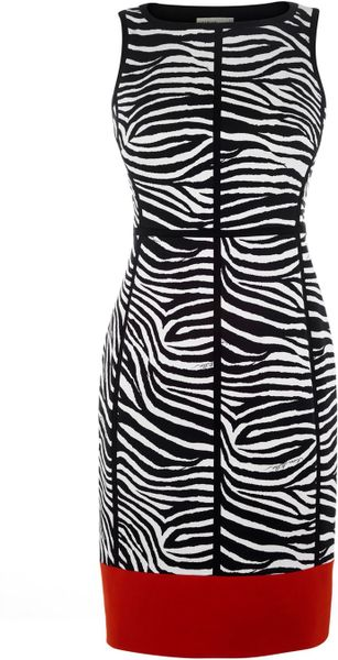 Karen Millen Archive Zebra Print Panelled Dress in Gray (multi-coloured) - Lyst
