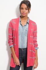 Splendid Sheer Knit Stripe Cardigan - Lyst