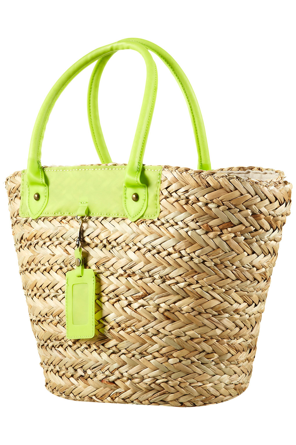 Topshop Straw Basket Bag in Green | Lyst
